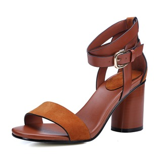 Women's Pumps Sandals Chunky Heel Real Leather Shoes
