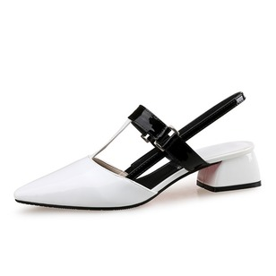 Women's Pumps Closed Toe Slingbacks Chunky Heel Patent Leather Shoes