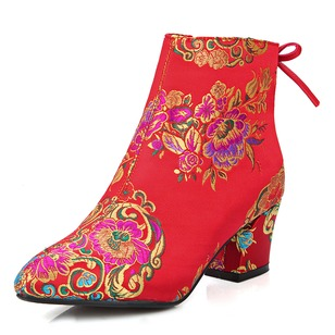 Women's Boots Ankle Boots Chunky Heel Satin Shoes