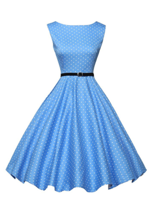 Cotton Blends Polka Dot Sleeveless Mid-Calf Vintage Dresses