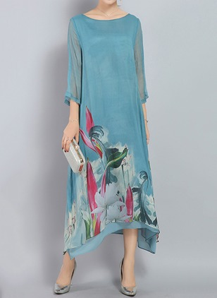 Cotton Floral 3/4 Sleeves Mid-Calf Casual Dresses