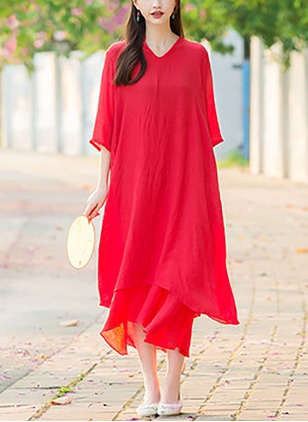 Polyester Solid 3/4 Sleeves Mid-Calf Casual Dresses