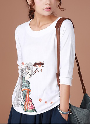 Cotton Linen Floral Round Neck 3/4 Sleeves Casual T-shirts & Vests