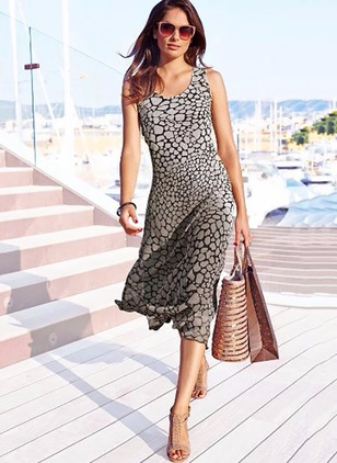 Polyester Floral Sleeveless Mid-Calf Casual Dresses  ...