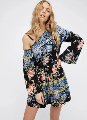 Polyester Floral Long Sleeve Mini Casual Dresses