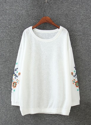 Cotton Floral Round Neck Long Sleeve Casual T-shirts & Vests