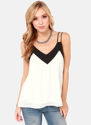 Polyester Color Block Camisole Neckline Sleeveless Casual T-shirts & Vests