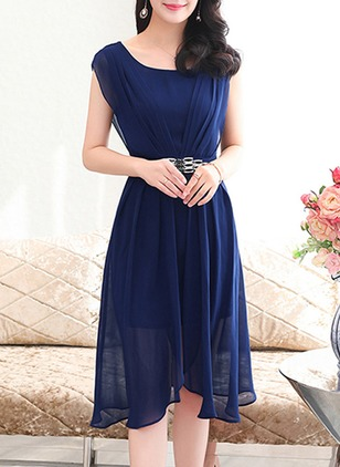 Chiffon Solid Sleeveless High Low Elegant Dresses