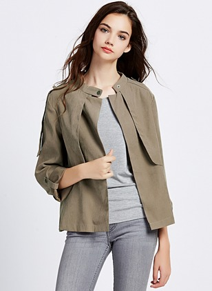 Polyester Gray Short Long Sleeve Stand Collar Coats & Jackets