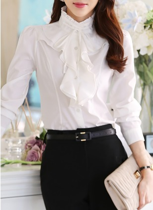 Solid Casual Chiffon High Neckline Long Sleeve Blouses