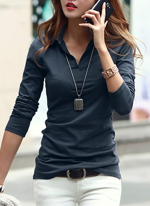 Cotton Solid Collar Long Sleeve Sexy T-shirts & Vests