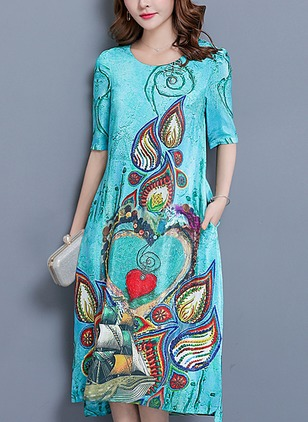 Cotton Color Block Half Sleeve Mid-Calf Vintage Dresses  ...