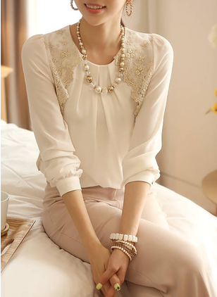 Solid Vintage Polyester Round Neckline 3/4 Sleeves Blouses