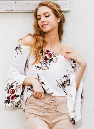 Floral Casual Polyester Others 3/4 Sleeves Blouses