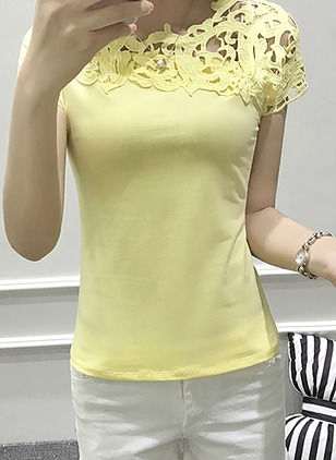 Polyester Solid Round Neck Short Sleeve Casual T-shirts & Vests