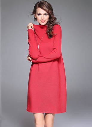 Cotton Wool Solid Long Sleeve Knee-Length Casual Dresses