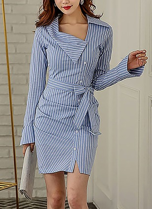 Cotton Stripe Long Sleeve Above Knee Casual Dresses  ...