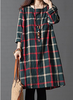 Cotton Tartan 3/4 Sleeves Knee-Length Casual Dresses  ...