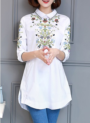 Floral Casual Cotton Collar 3/4 Sleeves Blouses