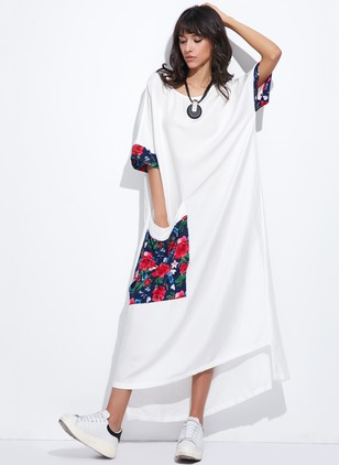 Linen Floral Short Sleeve High Low Casual Dresses