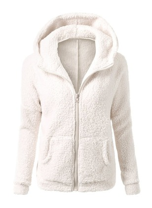Polyester White Short Long Sleeve Hooded Coats & Jackets