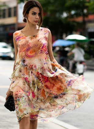 Silk Floral Sleeveless Knee-Length Vintage Dresses  ...