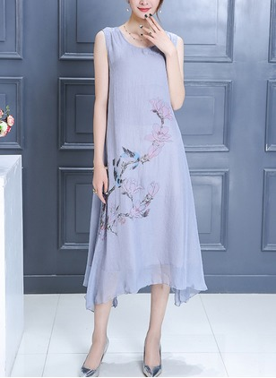 Cotton Floral Mid-Calf Casual Embroidery Wrap Dresses  ...