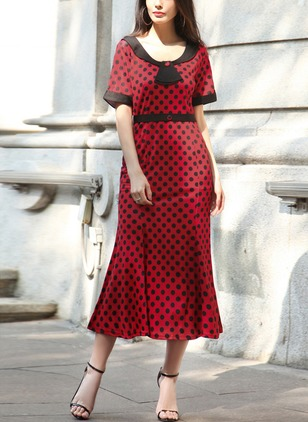 Polyester Polka Dot Short Sleeve Mid-Calf Cute Dresses