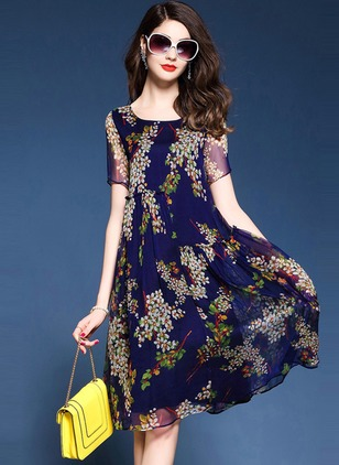 Silk Jute Floral Short Sleeve Knee-Length Elegant Dresses  ...