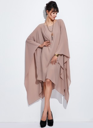 Chiffon Solid Long Sleeve High Low Casual Dresses