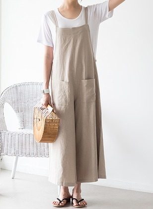 Cotton Linen Solid Sleeveless Jumpsuits & Rompers