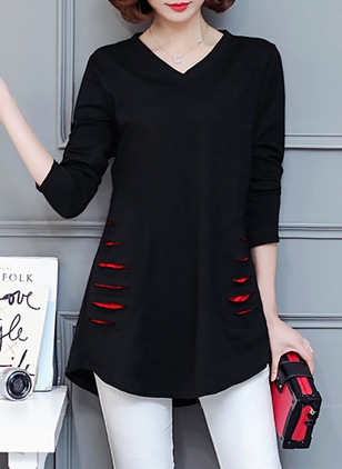 Cotton Color Block V-Neckline 3/4 Sleeves Casual T-shirts & Vests