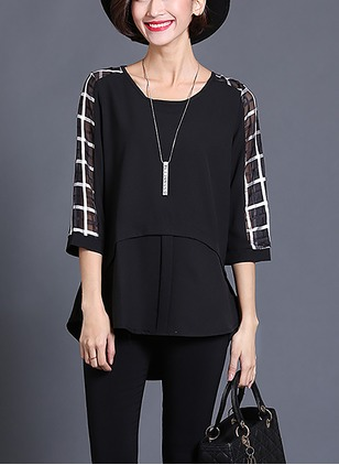 Stripe Casual Polyester Round Neckline Half Sleeve Blouses