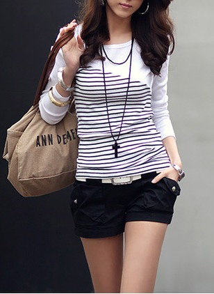 Cotton Stripe Round Neck Long Sleeve Sexy T-shirts & Vests