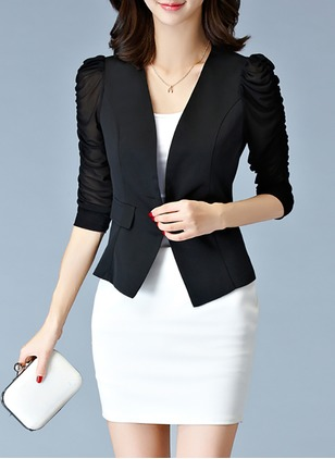 Polyester Black White Short Long Sleeve Other Coats & Jackets