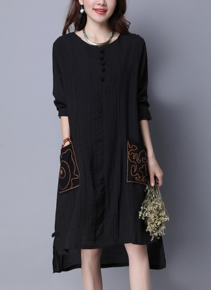 Cotton Long Sleeve Knee-Length Elegant Pockets Dresses