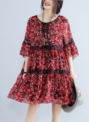Cotton Blends Floral 3/4 Sleeves Knee-Length Elegant Dresses