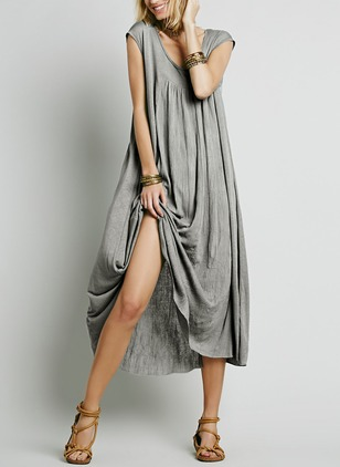 Polyester Solid Cap Sleeve Mid-Calf Casual Dresses  ...