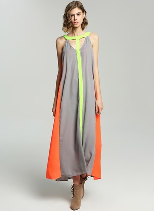 Chiffon Cotton Sleeveless Maxi Casual Hollow Out Dresses