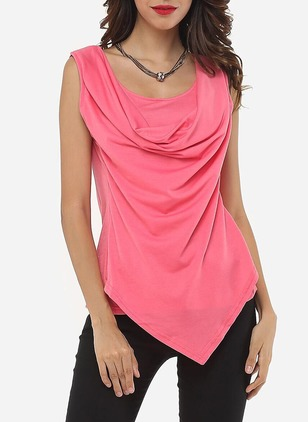 Polyester Solid Round Neck Sleeveless Casual T-shirts & Vests
