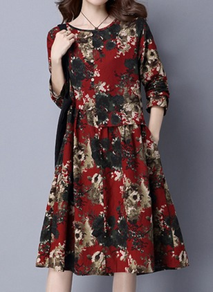 Cotton Floral Long Sleeve Knee-Length Vintage Dresses