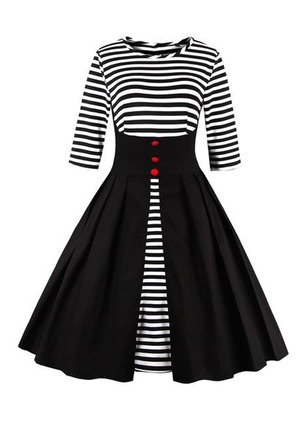 Cotton Stripe Half Sleeve Mid-Calf Vintage Dresses