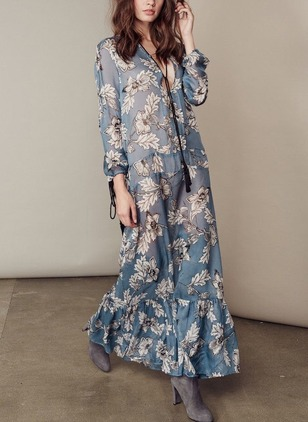 Polyester Floral Long Sleeve Maxi Casual Dresses