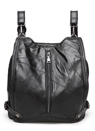 Backpacks Fashion Real Leather Black Medium Bags