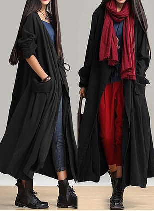 Linen Black Blue Red Long Long Sleeve Other Coats & Jackets