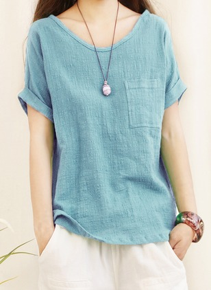 Cotton Linen Solid Round Neck Long Sleeve Casual T-shirts & Vests