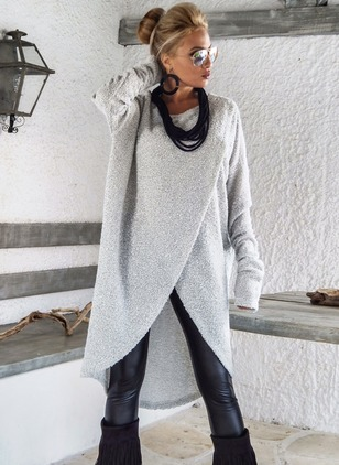 Wool & Wool Blend As Picture Long Long Sleeve Round Neck Coats & Jackets