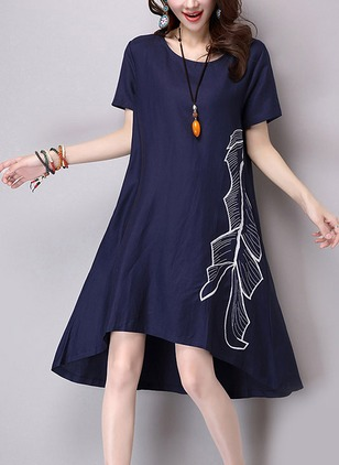 Cotton Linen Short Sleeve High Low Casual Embroidery Dresses