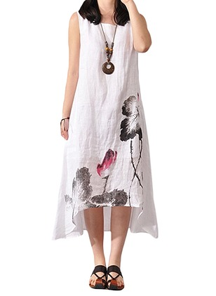 Linen Floral Sleeveless Mid-Calf Vintage Dresses