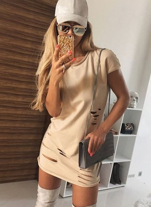 Cotton Blends Solid Short Sleeve Mini Casual Dresses
